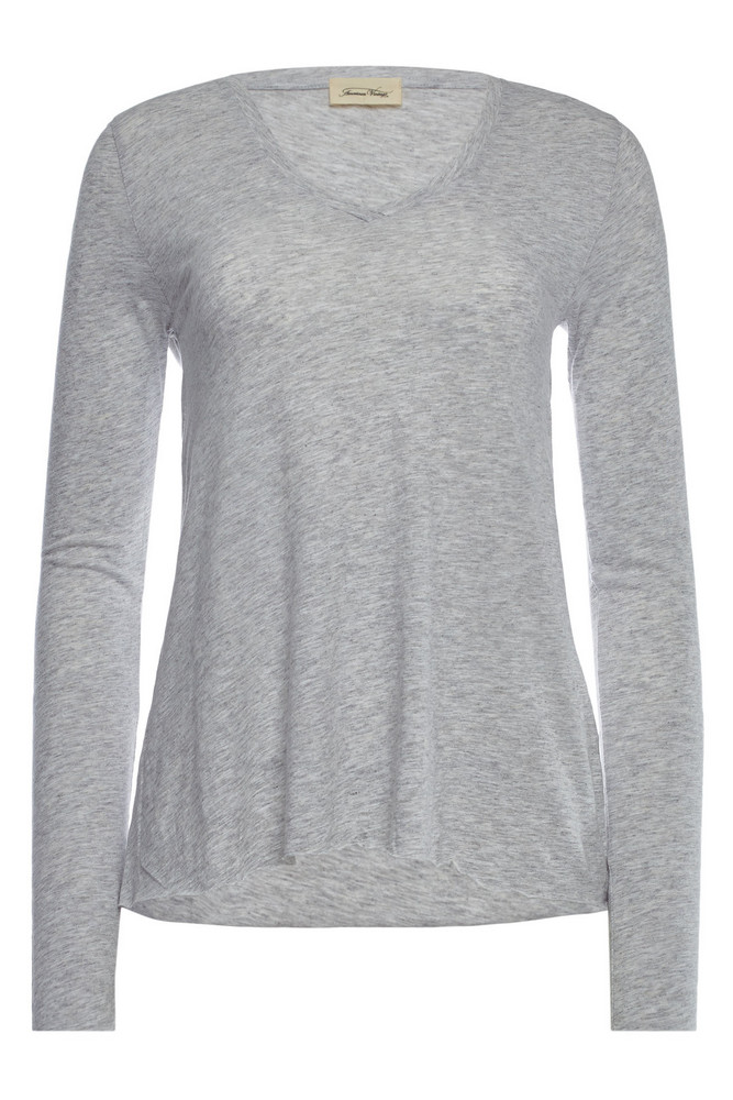 American Vintage V-Neck Top with Cotton  in grey