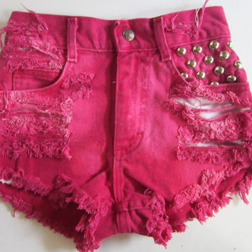 Vintage lee high waist tie dye bleached destroyed trashed denim studded cut off jean shorts on wanelo