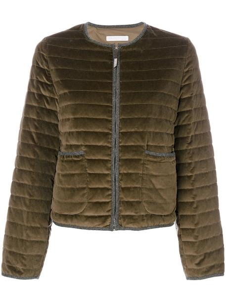 Fabiana Filippi jacket puffer jacket women spandex cotton green