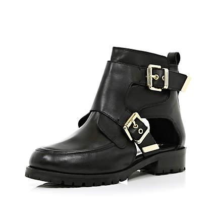 black cut out biker boots ankle boots shoes boots