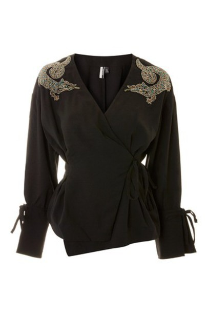 Topshop blouse embellished black top