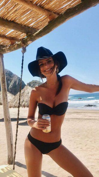 swimwear bikini bikini bottoms bikini top emily ratajkowski model off-duty instagram beach summer