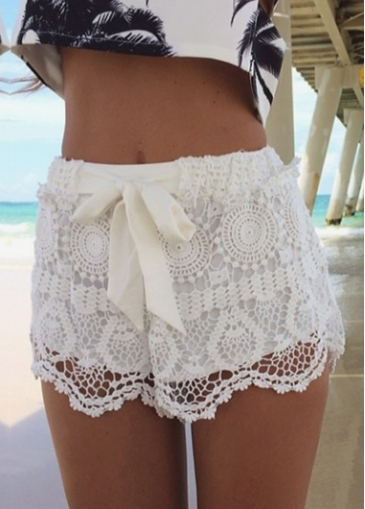 Alluring white drawstring closure lace shorts for lady