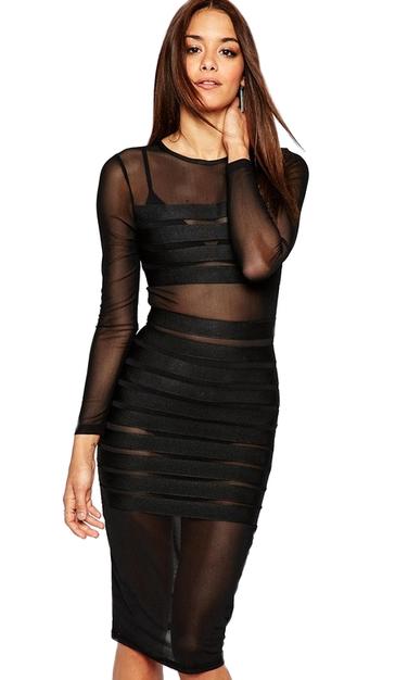 Long Sleeve Striped Mesh Bandage Dress Black