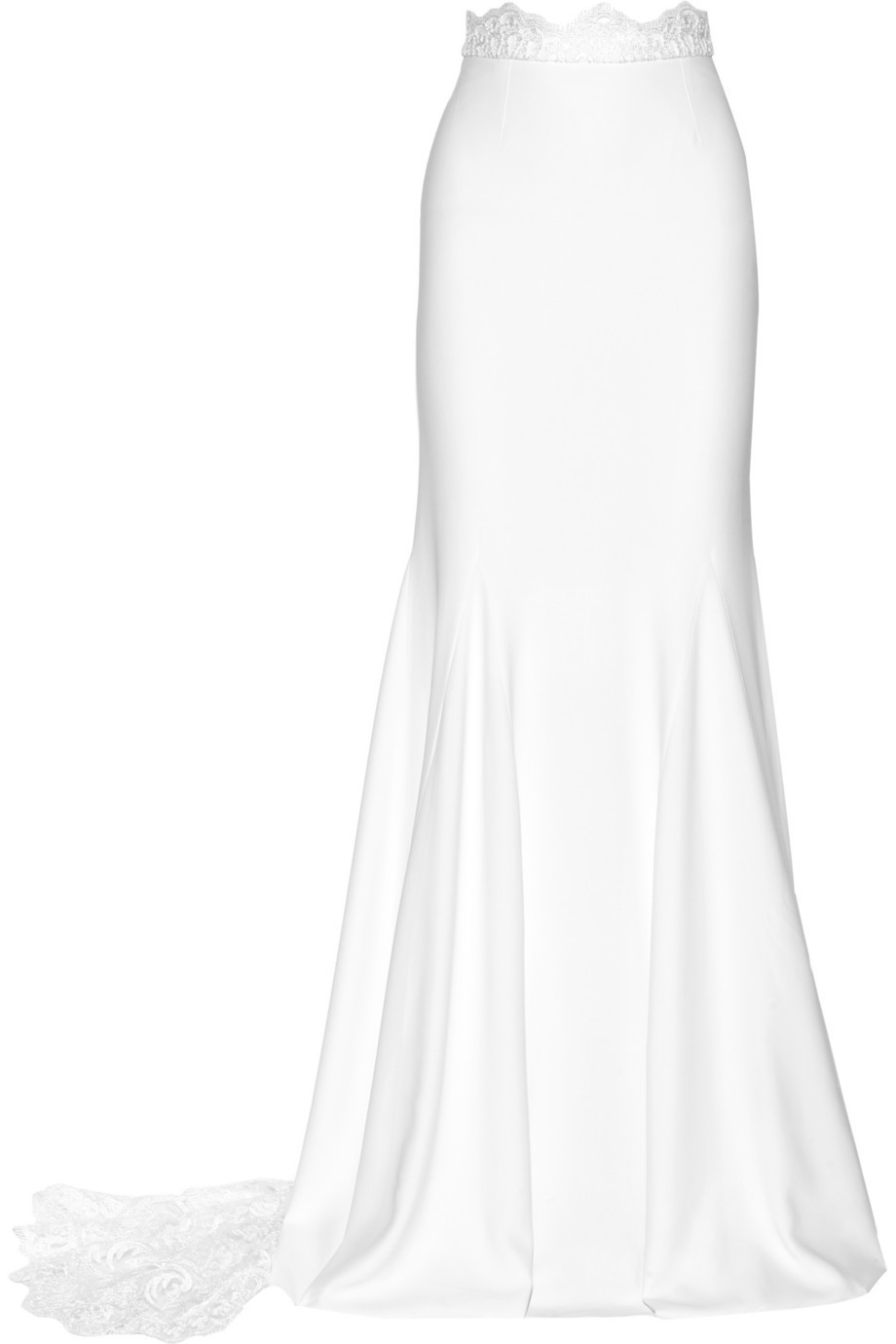 Rime Arodaky Pennington Lace-Paneled Crepe Maxi Skirt in white