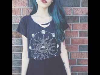 t-shirt black moon sun
