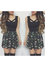 skirt,black,top,blouse,kylie jenner,kardashians,knee high socks,green,purple,tank top,dress,cute dress,cute,pattern,floral,fashion,summer outfits,summer dress,pink,blue,clothes,short dress,holes,girly,dark,short,shirt