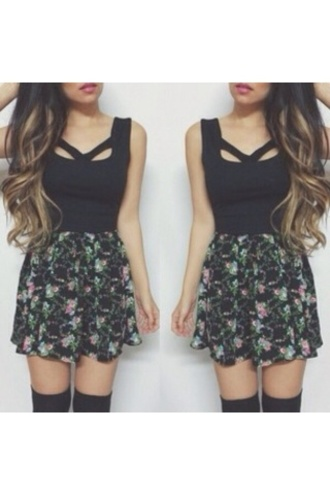 skirt black top blouse kylie jenner kardashians knee high socks green purple tank top dress cute dress cute pattern floral fashion summer outfits summer dress pink blue clothes short dress holes girly dark short shirt