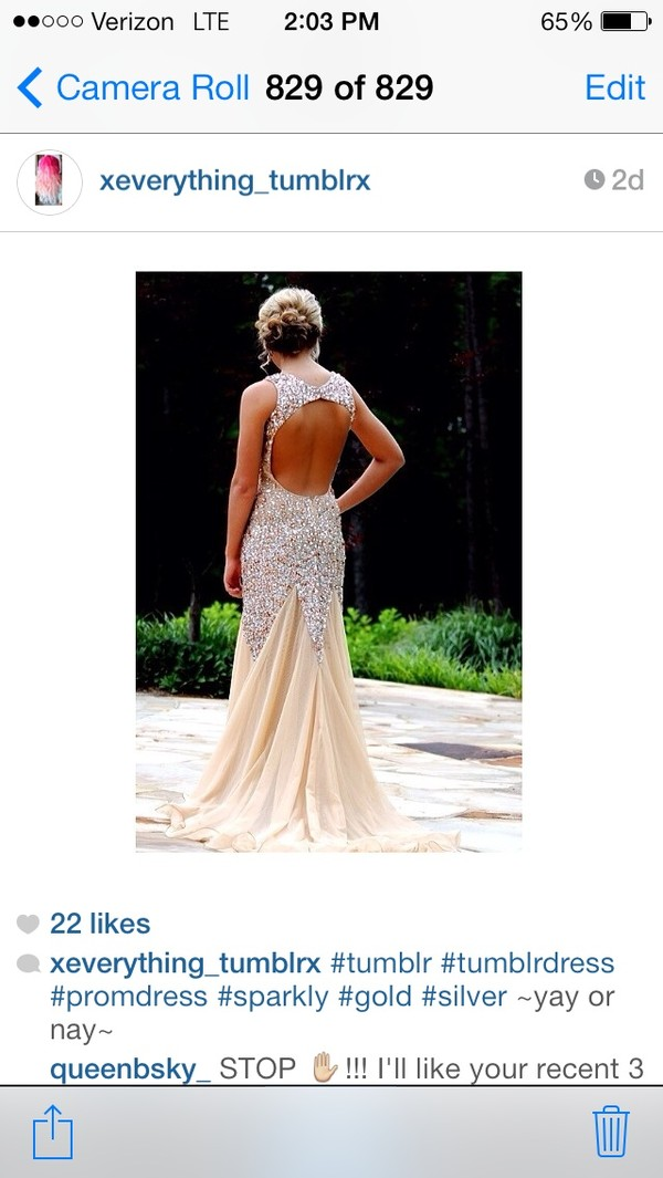 dress gold open back mermaid prom dress
