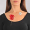 Coral red flower and pearl necklace