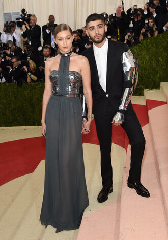 dress gigi hadid grey metallic see through dress metgala2016 zayn malik red carpet dress gown prom dress long prom dress met gala
