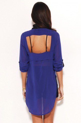 Tail Back Blouse with Open Back in Cobalt by AKIRA | Womens Tops | shopAKIRA.com