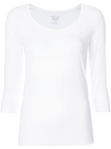 Majestic Filatures - scoop neck top - women - Viscose/Spandex/Elastane - 4, White, Viscose/Spandex/Elastane
