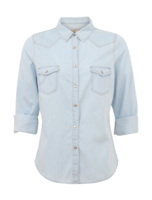 Light Blue Western 3/4 Sleeve Denim Shirt