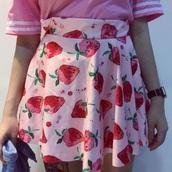 skirt,strawberry,cute,kawaii,pastel,pastel goth,pastel grunge,grunge,grunge skirt,pink skirt,cute skirt,mini skirt,pleated skirt,strawberry skirt,fairy kei,pop kei,jfashion,harajuku,tumblr,tumblr outfit,tumblr girl,korean fashion,dejavucat