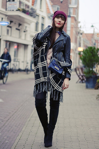 blogger winter outfits a dash of fash perfecto blanket scarf thigh high boots