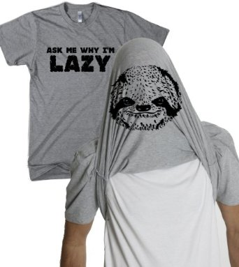 Amazon.com: Ask Me Why I'm Lazy T Shirt Funny Flipup Sloth Shirts: Clothing