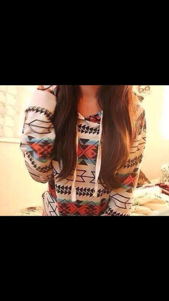 jacket red shirt cute aztec hoodie aztec blue shirt white sweater style