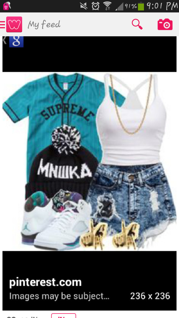 shorts tank top shirt jacket hat shoes