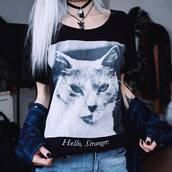 t-shirt,black,aesthetic,nu goth,pastel goth,cats,lolita,kimiperri