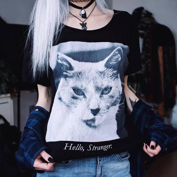 t-shirt black aesthetic nu goth pastel goth cats lolita kimiperri