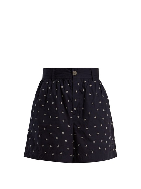 JUPE BY JACKIE shorts embroidered high floral cotton navy white