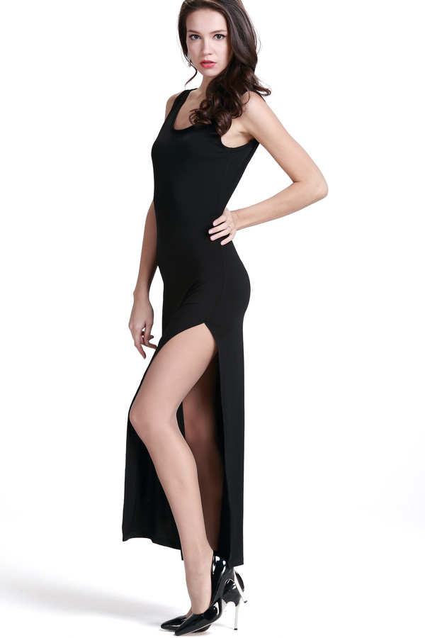 Black Side High Slit Open Back Maxi Dress