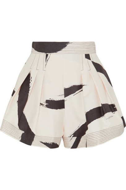shorts pleated silk cream