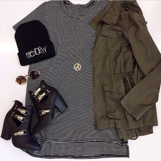 black shoes black and white army green jacket army green fall jacket fall fall colors boots beanie gold jewelry peace sign peace sign necklace cut out ankle boots cats meow
