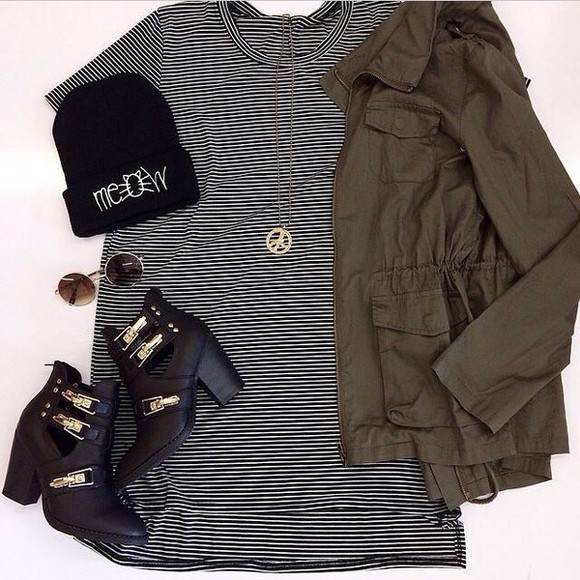 army green army green jacket fall jacket fall fall colors shoes booties shoes black beanie black and white gold jewelry peace sign peace sign necklace cut out ankle boots cats meow