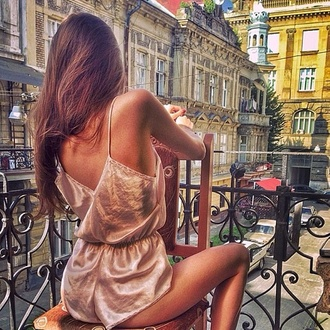 jumpsuit gold metallic fashion style romper new york city summer outfits spring outfits fall outfits trendy dungaree thecarriediaries carrie nightwear lingerie silk slip silk dress nude dress nude cream