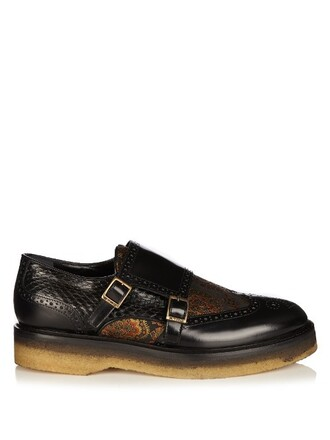 jacquard loafers leather black shoes