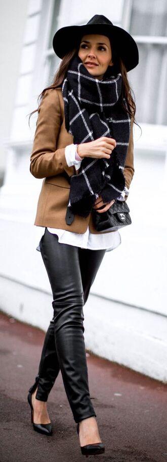 scarf leather pants camel blazer camel jacket oversized scarf plaid oversized scarf black leather pants black pumps white shirt floppy hat chanel bag chanel quilted bag chain strap bag