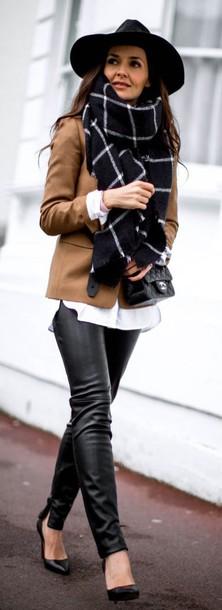 3268f97a1 scarf leather pants camel blazer camel jacket oversized scarf plaid oversized  scarf black leather pants black