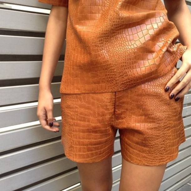 shorts leather brown crocodile leather shorts