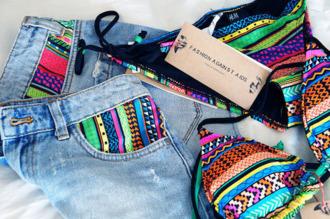 swimwear summer 2014 colorful find me ebay ebay.com skirt aztec tribal pattern bikini shorts jeans