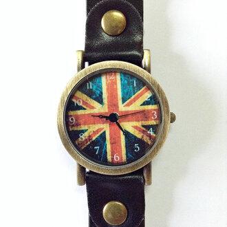 jewels fashion watch boyfriend watch accessories british flag british flag watch vintage