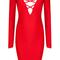 Long sleeve lace up plunge v neck bandage dress red