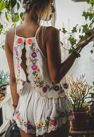 romper embroidered 2 piece short set white spring summer floral romper cute back
