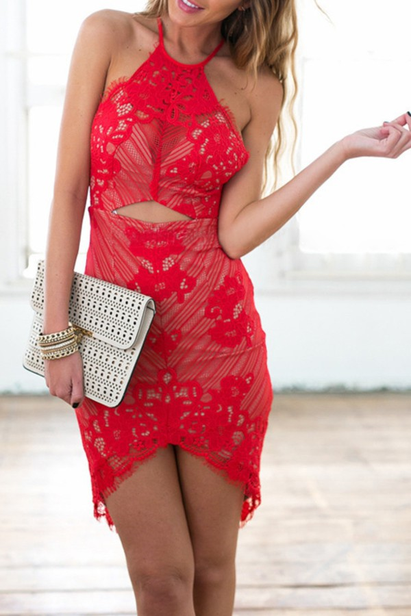 dress sexy red lace summer party dress fancy fashion style halter neck dress zaful red dress lace dress red lace dress bodycon dress red bodycon dress lace bodycon dress red lace bodycon dress mynystyle mini dress girly cute chic