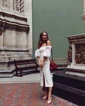 dress,white dress,midi dress,off the shoulder