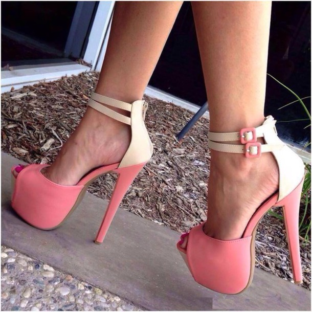 868dddc224cb shoes fsjshoes pink beige ankle strap heels high heels fashion open toes  platform heels classy chic