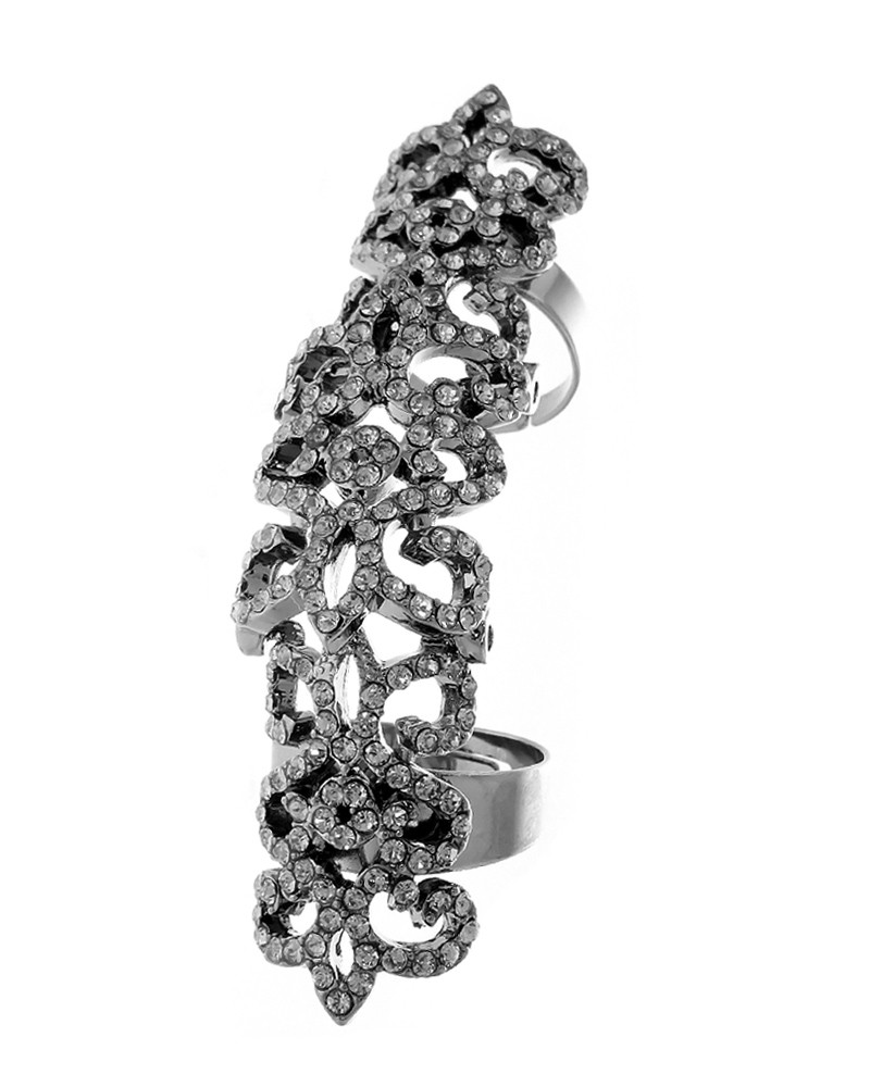 Love Rocks  Crystal Knuckle Ring Black Diamond