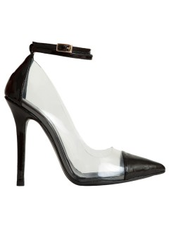 Berta vinyl black patent leather heels