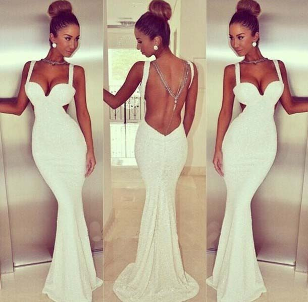 Women Celebrity Mermaid Dress New Fashion Sexy White Backless Bodycon Long Dress Spaghetti Strap Elegant Evening Party Dresses-in Apparel & Accessories on Aliexpress.com | Alibaba Group