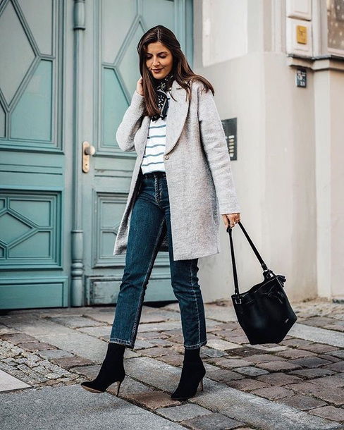 coat grey coat boots bag top strapless stripes jeans blue jeans