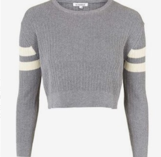 sweater cropped grey jumper knitwear wool