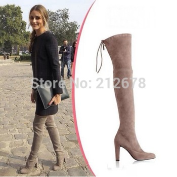 high quality guarantee boy vivid and great in style Winter Highland Thigh high Boots Suede knee Boots Sexy Grey/Black/Beige  Thigh Long booty Lace up big size 42 women boots-in Women's Boots from  Shoes ...