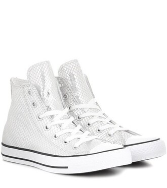 high sneakers leather metallic shoes