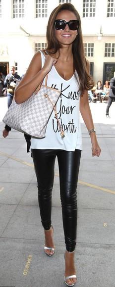 shoes jeans t-shirt high heels louis vuitton shopper michelle keegan leather pants